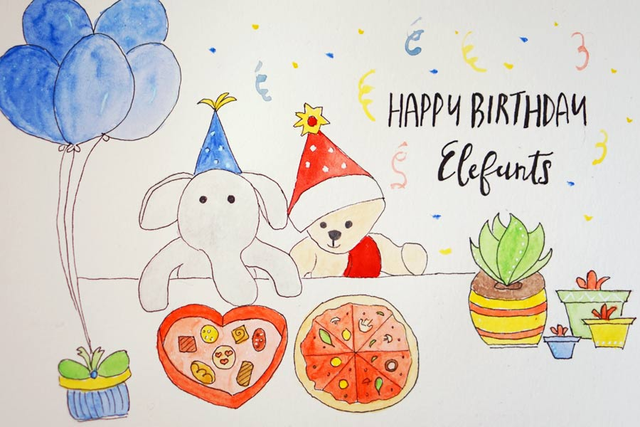 Elefants Birthday Card
