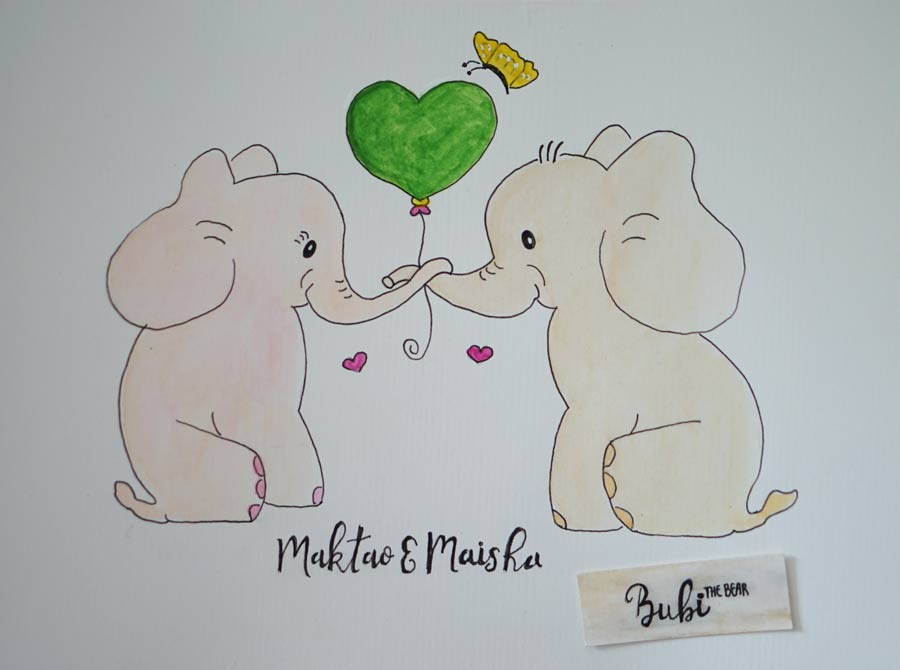 Orphan Elephants Maisha & Maktao Baby Elephants Illustration