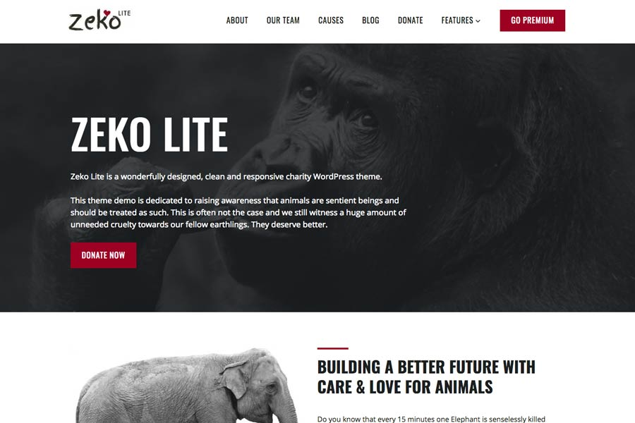 Free Non-Profit Animals WordPress Theme
