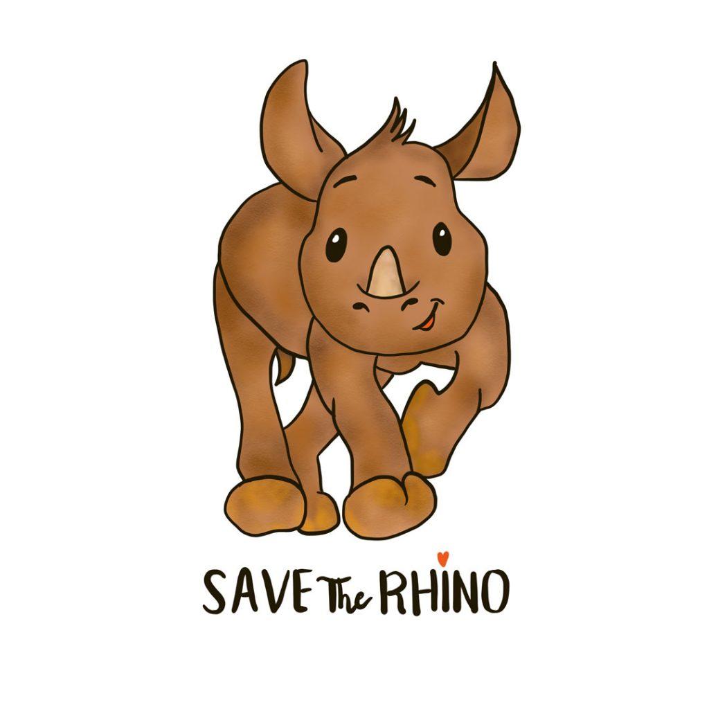 Save The Rhino Illustration